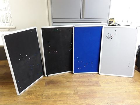 Lot 13 FOUR ASSORTED NOTICE BOARDS (APPROX. 90X55CM)