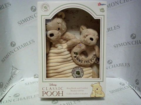 Lot 2025 CLASSIC POOH RING RATTLE AND BLANKET GIFT SET