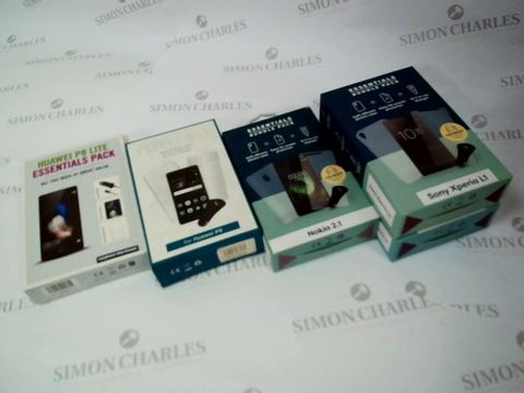 Lot 2651 BOX OF 5 BRAND NEW ESSENTIALS PACKS FOR HUAWEI P8 LITE, HUAWEI P9, NOKIA 2.1 AND SONY XPERIA L1