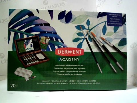 Lot 2308 DERWENT ACADEMY WATERCOLOUR PAINT WOODEN BOX SET