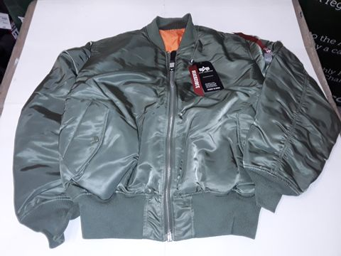Lot 79 ALPHA INDUSTRIES BOMBER JACKET IN SAGE GREEN - XL