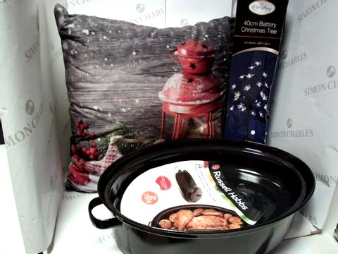 Lot 17773 LOT OF APPROXIMATELY 5 ASSORTED HOUSEHOLD ITEMS, TO INCLUDE LIGHT-UP CUSHION, RUSSELL HOBBS ROASTING DISH, 40CM CHRISTMAS TREE, ETC