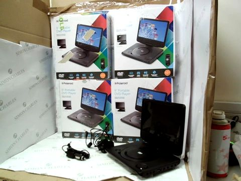 Lot 12106 LOT OF 4 POLAROID 9 INCH PORTABLE DVD PLAYERS IN BLACK