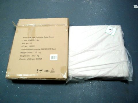 Lot 647 BRAND NEW BOXED FOLDABLE CUBE IN CREAM