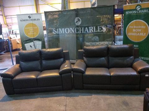 Lot 1999 QUALITY ITALIAN GREY LEATHER UPHOLSTERED PAIR OF TWO SEATER SOFAS