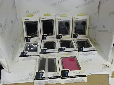 Lot 4815 LOT OF APPROXIMATIVELY 10 MUVIT SLIM THIN AND ELEGANT CASES FOR SAMSUNG GALAXY CORE 4G/TREND LITE AND POCKET 2