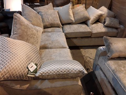 Lot 3001 DESIGNER SILVER FABRIC CORNER SOFA WITH SCATTER CUSHIONS