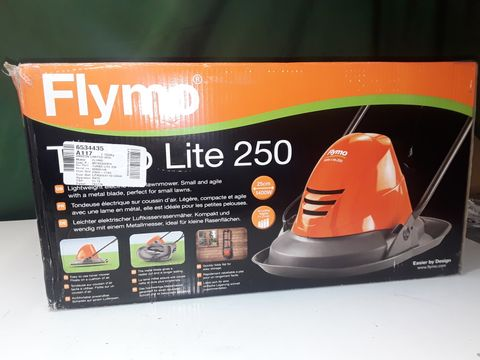 Lot 173 FLYMO TURBO LITE 250 ELECTRIC HOVER LAWNMOWER, 1400W, CUTTING WIDTH 25CM