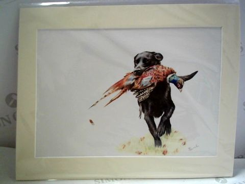Lot 13 DOG AND PHEASANT MOUNTED ARTWORK - S BURCH