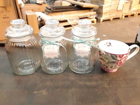 Lot 572 LOT OF 3 RIBBED 19CM LARGE GLASS JARS + PORTOBELLO CHINA MUG