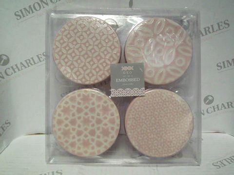 Lot 7355 GEO SET OF 4 EMBOSSED COASTERS