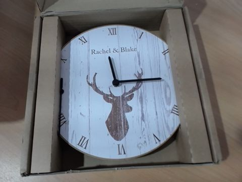 Lot 1025 PERSONALISED STAG WOODEN CLOCK  RRP £70.00
