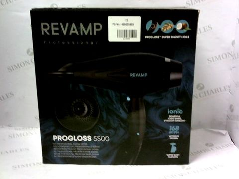 Lot 15613 BOXED BRAND NEW REVAMP PROGLOSS 5500 AC PROFESSIONAL 2400W DRYER