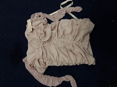 Lot 4794 DESIGNER OH POLLY PINK RUFFLED STRAPLESS LONG SLEEVED LACED MINI DRESS SIZE Uk 8