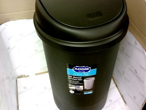 Lot 141 BOXED ADDIS PLASTIC 50LTR ROUND TOUCH TOP BIN RRP £37.99