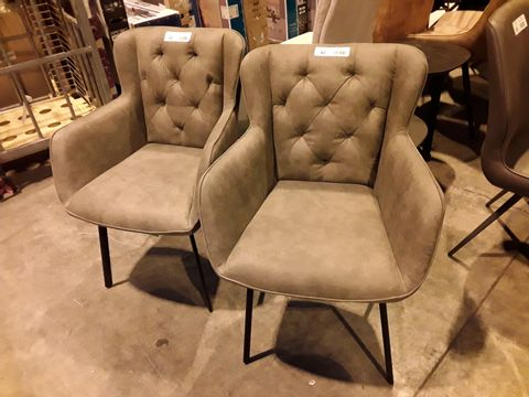 Lot 42 PAIR OF DESIGNER GREY FAUX LEATHER UPHOLSTERED BUTTONED BACK DINING ARMCHAIRS