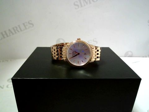 Lot 702 ROTARY SILVER SUNRAY CRYSTAL SET DATE DIAL ROSE GOLD STAINLESS STEEL BRACELET LADIES WATCH RRP £489.00