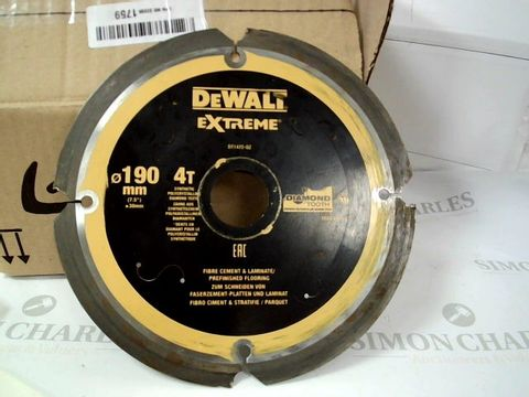 Lot 12420 DEWALT EXTREME DIAMOND TOOTH CEMENT & LAMINATE CUTTING DISK 190mm
