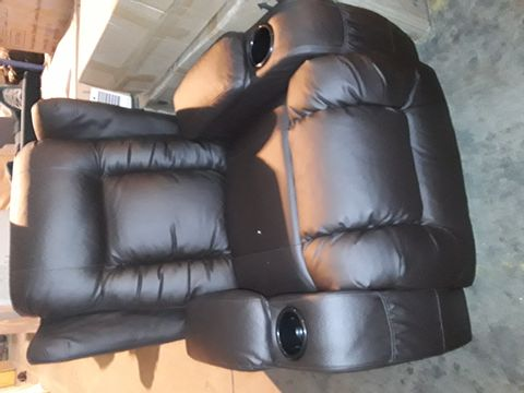 Lot 554 DESIGNER BLACK LEATHER POWER RECLINING EASY CHAIR
