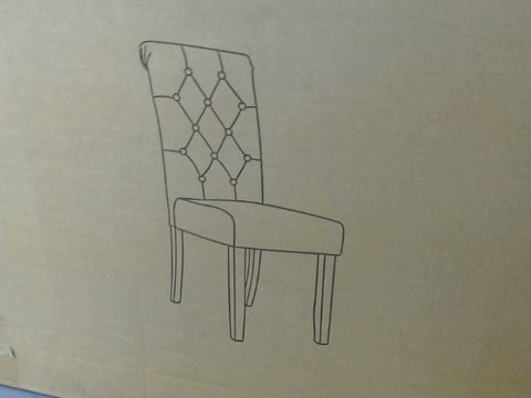 Lot 624 PAIR OF FABRIC SCROLL BACK DINING CHAIRS - GREY/OAK RRP £259.00