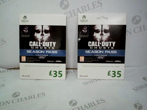 Lot 12475 LOT OF 2 ASSORTED CALL OF DUTY GHOSTS £35 SEASON PASSES