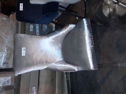 Lot 15 DESIGNER SILVER FABRIC HIGH BACKED CHAIR ON CHROME SUPPORTS