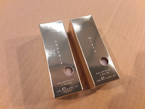 Lot 13638 BOX OF 99 BRAND NEW COSMETICS TO INCLUDE: MISTY AND PHOENIX GLOW LIQUID HIGHLIGHTERS