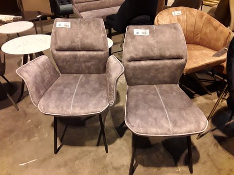 Lot 36 PAIR OF DESIGNER SILVER FABRIC UPHOLSTERED DINING CHAIRS WITH FEATURED STITCHING