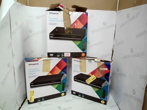 Lot 12433 LOT OF 3 ASSORTED POLAROID COMPACT HDMI DVD PLAYERS