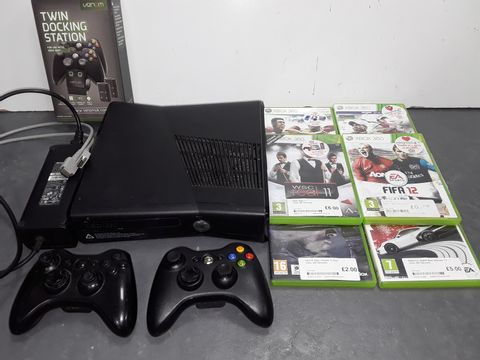 Lot 4042 XBOX 360 CONSOLE WITH WIRES, CONTROLLERS AND 6 GAMES