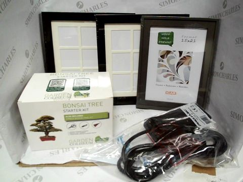 Lot 7349 LARGE BOX FULL OF MIXED HOUSEHOLD ITEMS TO INCLUDE: MIXED QUANTITY OF PHOTO FRAMES, BONSAI TREE STARTER KIT, EXTENSION CABLE, ETC