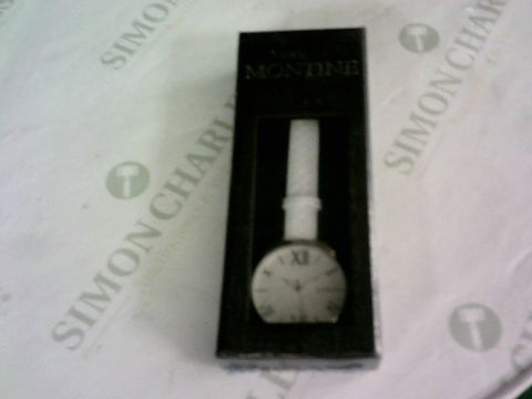 Lot 8525 MONTANE WATCH WHITE LEATHER STRAP, SILVER BODY, WHITE FACE