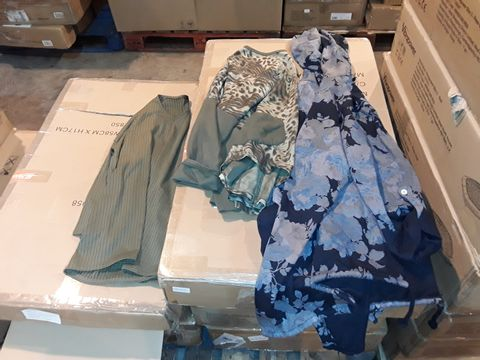 Lot 8287 BOX OF APPROXIMATELY 40 ASSORTED ITEMS OF CLOTHING TO INCLUDE NICOLE OLIVE RIBBED TOP, NABELLSXGREYBANI,AL PRINT EFFECT TOP AND NABELLA NAVY FLORAL PATTERN HOODED CARDIGAN
