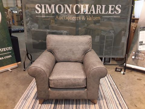 Lot 2031 DESIGNER BRITISH MADE GREY FAUX LEATHER ARMCHAIR