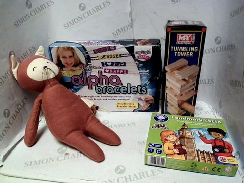 Lot 4452 LOT OF APPROXIMATELY 20 ASSORTED TOYS AND GAMES, TO INCLUDE FABELAB PLUSH CAT TOY, ALPHA BRACELET KIT, ORCHARD LANDMARK LOTTO, ETC