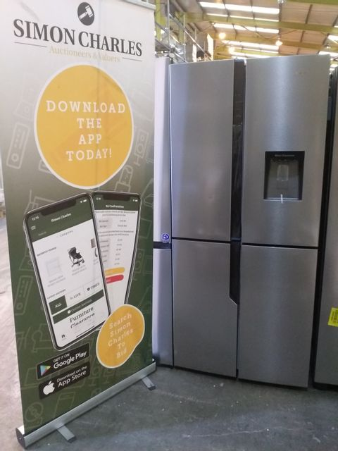 Lot 5002 HISENSE STAINLESS STEEL FRENCH STYLE FRIDGE FREEZER - 79.4 CM - 431 LITRE RQ560N4WC1 RRP £679.00