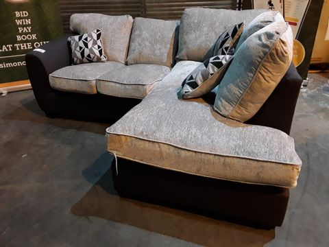 Lot 28 DESIGNER GREY & NATURAL FABRIC CHAISE SOFA WITH SCATTER CUSHIONS