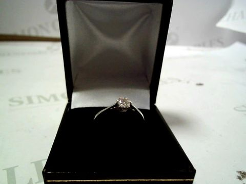 Lot 4150 9 CARAT WHITE GOLD 25PT CERTIFIED SOLITAIRE RING RRP £765.00