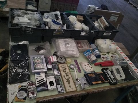 Lot 41 FOUR TRAYS OF ASSORTED ITEMS TO INCLUDE: TAROT CARDS, CIRD ORGANISER, PENS, MAGNETIC WRISTBAND ETC