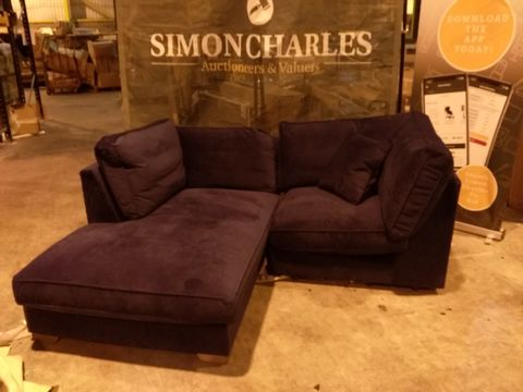 Lot 2044 TWO QUALITY DESIGNER BRITISH MADE NAVY FABRIC CHAISE CORNER SOFA SECTIONS