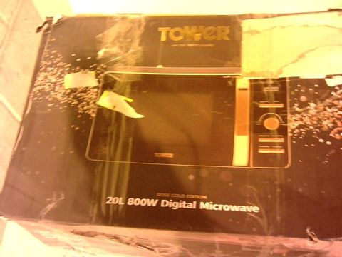 Lot 12117 TOWER T24021 DIGITAL SOLO MICROWAVE - BLACK AND ROSE GOLD