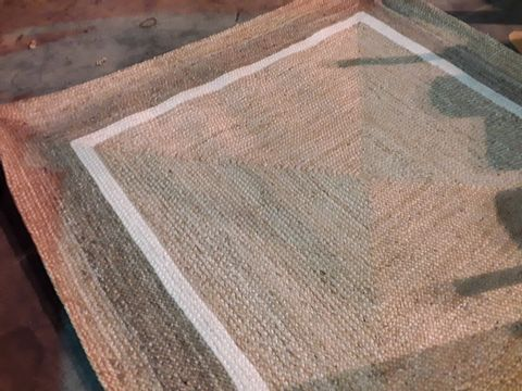 Lot 552 DESIGNER JUTE NATURAL/WHITE SQUARE RUG 220 × 220