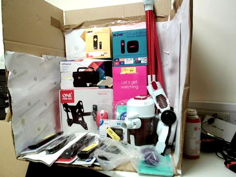 Lot 12110 BOX OF APPROXIMATELY 40 ASSORTED ELECTRIC AND HOME APPLIANCE ITEMS TO INCLUDE GOBLIN CORDLESS VACUUM CLEANER PARTS, NOW TV SMART BOX AND POLAROID AM/FM RADIO