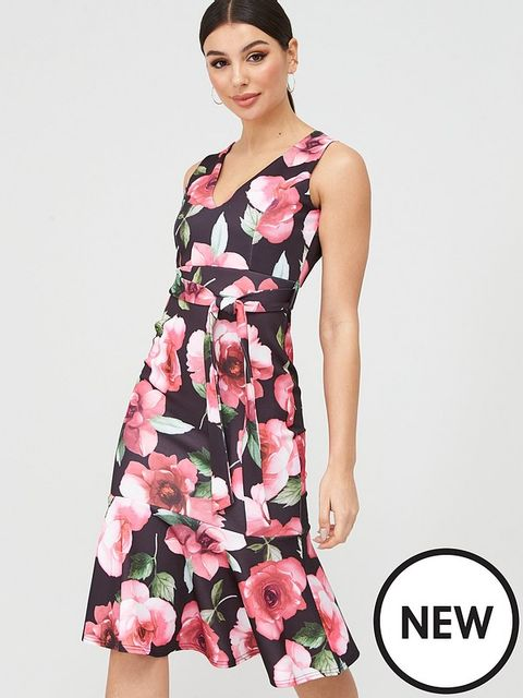 Lot 1866 BRAND NEW BOOHOO PINK FLORAL DROP HEM MIDI BLACK DRESS - SIZE 6