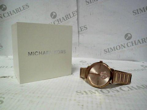 Lot 4328 MICHAEL KORS PORTIA 36.5MM CRYSTAL DETAIL BRACELET WATCH - ROSE GOLD RRP £210.00