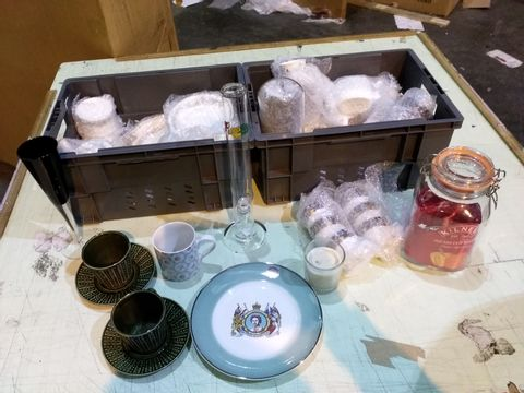 Lot 16 THREE TRAYS OF ASSORTED ITEMS TO INCLUDE: FILE, PLATES, KILNER JAR ETC