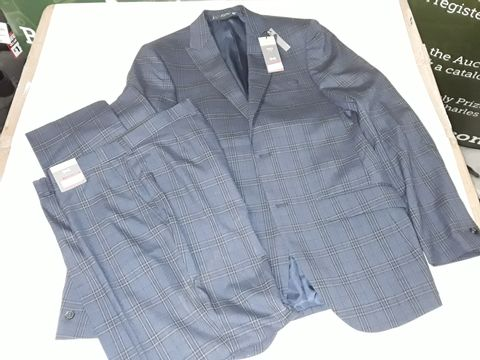 Lot 69 M&S SLIM FIT JACKET AND PANTS SET IN CHEQUERED BLUE - JACKET 38L PANTS W34 86CM
