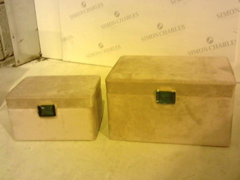 Lot 2323 TWO LIGHT PINK FABRIC JEWELLERY BOXES