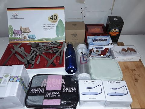 Lot 1258 LOT OF APPROXIMATELY 16 ASSORTED HOMEWARE ITEMS TO INCLUDE STAINLESS STEEL CUTLERY, RESISTANCE BANDS, AVENGERS SHAPED MUG AND NOSTON CANDLESTICKS