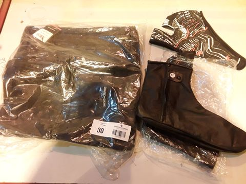 Lot 30 THREE MOTORCYCLE ITEMS, ICON RACE RAIN BAG BLACK, PAIR BLACK OVER SHOES SIZE 12 & SKELETON PRINT FACE MASK